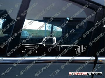 2x Car Silhouette sticker -  Chevrolet C10 stepside 1981 classic truck
